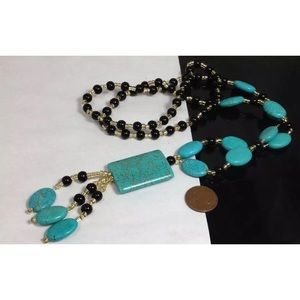"Onyx, Gorgeous Turquoise 30"" Necklace"